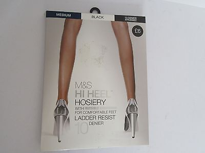 M & S Hi Heel Hosiery With Invisible Cushioning Ladder Resist  Black Medium New