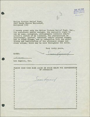 Susan Hayward - Document Double Signed 08/21/1946
