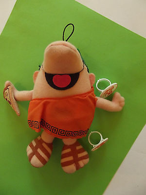Vintage Little Ceasars Pizza Pizza Plush Doll with 2 Plastic Rings