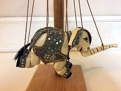 Rare Antique Burmese Hand Carved & Painted Jointed Elephant Marionette Puppet
