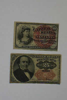 (2 Fractional Currency Lot) 1863 - 10 cents, 1874 - 25 cents