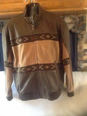 Vintage Adler southwest tribal pattern leather jacket mens size Large