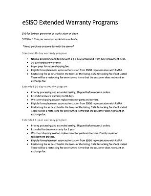 eSISO Extended Warranty Programs for Servers, Workstations, and their Parts