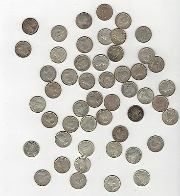 Lot Of 50 Canada  Silver Dimes $5.00 Face