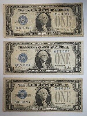 Lot of Three (3) 1928 $1 Silver Certificate Funnyback Blue Seal Notes Ave Circ