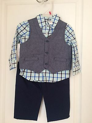 Brand New Infant Boys George 3-Piece Vest Shirt Pants Suit Set 12m