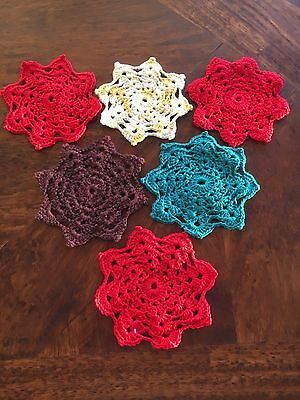 Rare! 6 X Genuine 1960'S Retro Hand Crocheted Coasters!