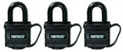 "Fortress 1804TRI 1-9/16"" Black Weatherproof Padlocks 3 Count"
