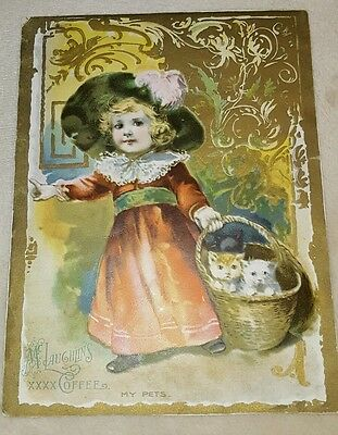Antique Vintage McLaughlin's Coffee Victorian Trade Card little girl My pets
