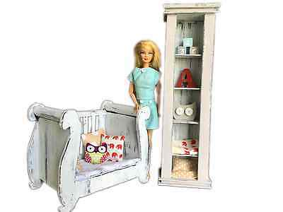 MiniMolly Dollhouse Furniture, BARBIE SIZE Nursery, Cot Bed Bookcase  1:6 scale