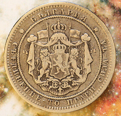 Bulgaria 1882  2 Leva National Arms, Alexander I Prince,  Silver- Foreign Coin