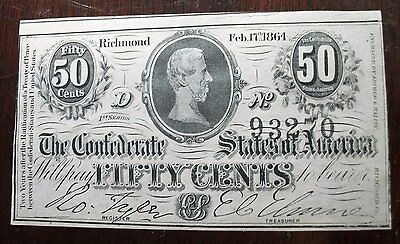 ** CIVIL WAR CURRENCY ** - 1864 Confederate States of America 50 Cents