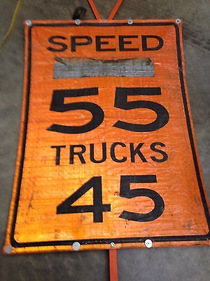 Road Work Reduce Speed Limit 45 55 Reflective Sign Bracket Flags Traffic Control