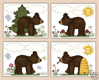 Woodland Teddy Brown Bear Forest Animal Baby Boy Girl Nursery Wall Art Prints