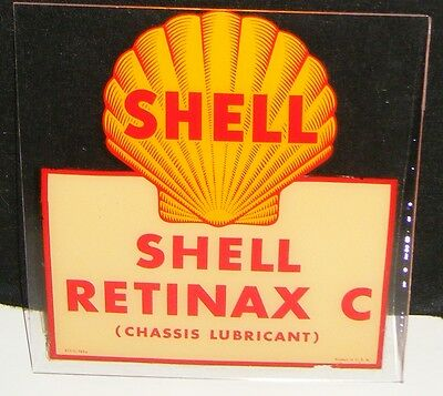 Shell GAS & OIL Decal Sign 1940's SHELL RETINAX C  APPLIED