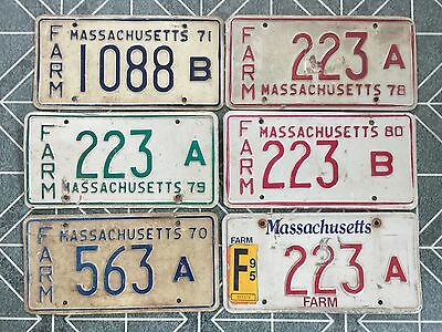 Lot of 6 Massachusetts FARM License Plates Tags - Plate 223 1088 563 Plate 1970s