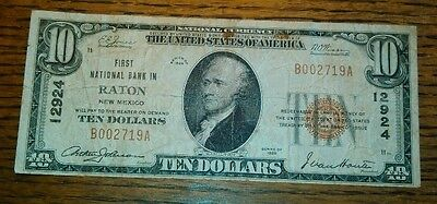 Series of 1929 Raton New Mexico $10.00 National Currency NM Banknote Circ *RARE*
