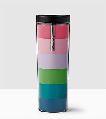 NEW!!! 2017 Starbucks Colorful Stripes Acrylic Tumbler 16 OZ