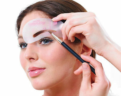 Kleeneze Set Of 4 Eyebrow Stencils Make Up Ladies Remplate Shaping Beauty