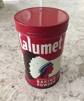 Vintage Calumet Baking Powder Tin with Metal Lid 1/2 lb. - 227 Grams Container A