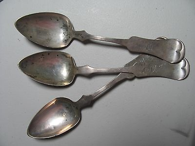 Antique Early American Pure Coin Sterling Silver Spoons E Mead & Co 81 grams