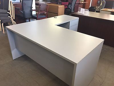 L-SHAPE DESK by GLOBAL OFFICE FURNITURE in GRAY COLOR LAMINATE