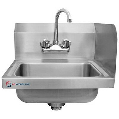 """EQ 1 Compartment Wall Mount Kitchen Sink Stainless Steel 15-3/4""""x15""""x13"""""""