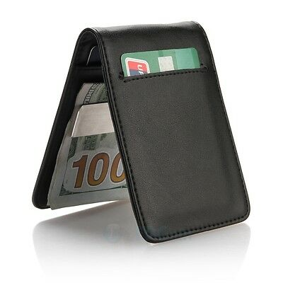 Genuine Leather Silver Mens Money Clip Slim Wallets Black ID Credit Card Holder