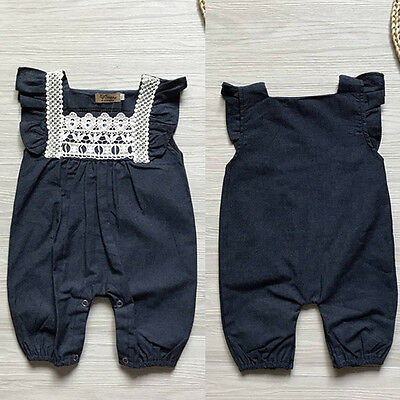 0-24M Newborn Baby Girls Lace Romper Jumpsuit Denim Pants Shorts Playsuit Outfit