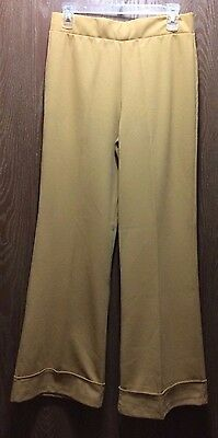 True Vtg 70s WOMENS GOLD DOUBLE KNIT BELL BOTTOM DISCO PANTS SLACKS SIZE 8/10