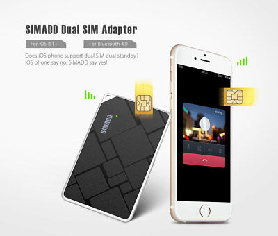 SIMADD Dual SIM Card Adapter Bluetooth 4.0 Phone Call SMS with Camera Shutter