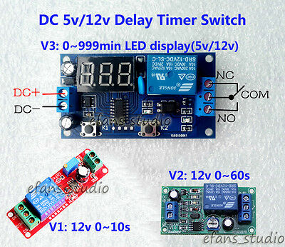 DC 5V/ 12V Adjustable NE555 Delay Timer Switch Relay Module/Board LED Display