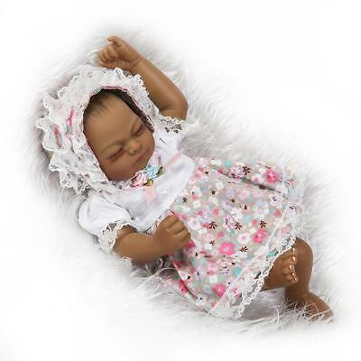Cute Black African American Baby Doll Bath Full Soft Silicone Reborn Newborn Toy