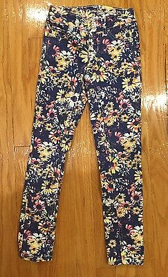 Justice Jeans girls size 7S floral simply low skinny denim flowers Spring