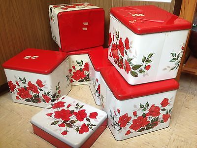 Large Set (6 +1) Vintage Retro Large metal WILLOW bread canister tins - roses