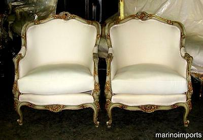 Pair of French Louis XV Polychrome Painted Bergere's Chairs