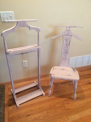 Vintage Shabby Chic 1930s Butler Wood Wooden Valet Stand and Chair