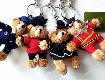 4pc Harrods UK policeman Guardsman Beefeater Piper plush bear keyring pendant