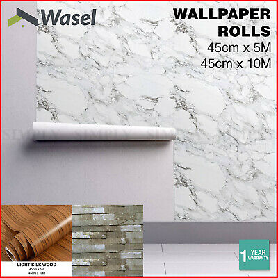 Wall Paper Rolls Marble Wood Brick Adhesive Home Wallpaper Decal Brown Stone
