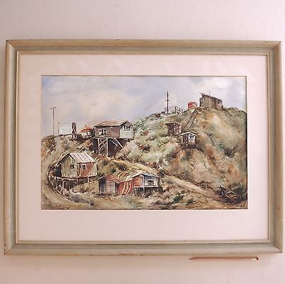 Perry Dilley 1950s Watercolor Salt Creek Young's Beach Camp California Surf Spot