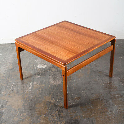 Mid Century Danish Modern Side Table End Teak Trioh Denmark Square Floating MCM