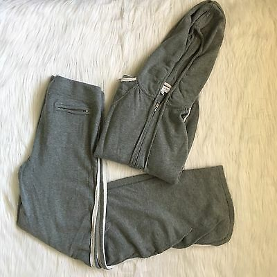 A Pea in the Pod Maternity Track Sweat Suit Gray Jacket Pants Hoodie Cashmere M