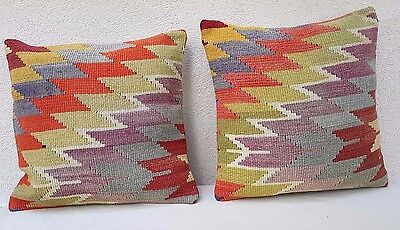 Set Of 2 Top Quality Kilim Cushion Cover Throw Pillow Case 20'' X 20'' Hand Made