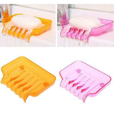 Bathroom Water Draining Soap Dish Case Holder Drainer Soap Saver Stand Box
