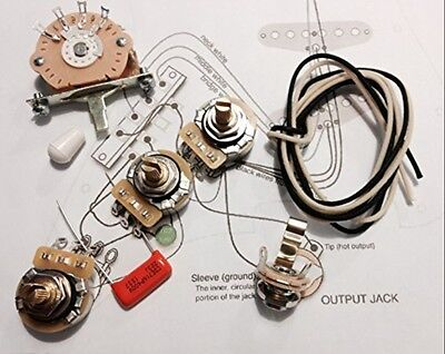Deluxe Wiring Kit for USA Fender Strat 3 CTS Pot 1 5 Way Switch 1 Jack 1 Cap