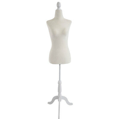 Female Mannequin Torso Dress Form Display W/ White Tripod Stand Size 36 White