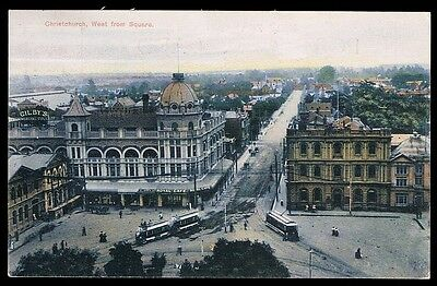 New Zealand • 1907 • Railway / Trams • Christchurch, West from Square