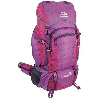 Highlander Expedition 60W Backpack Womens Hiking Pack Travel Rucksack 60L Purple
