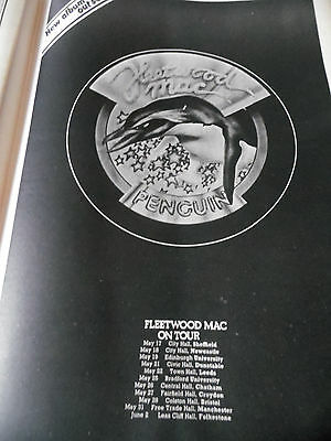"Fleetwood Mac From 1973 ""penguin"" Tour Dates And Gig Venues Full Page Superb"