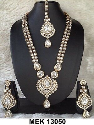 New Indian Bollywood Style Party Wear Long Necklace Set Clear Stones